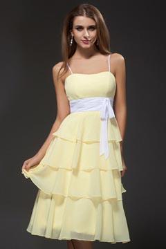 Saxmundham Spaghetti Strap Ruffle Yellow Homecoming Gown