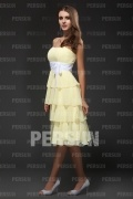 Tiered Knee length Summer Formal Dress in Daffodil Chiffon