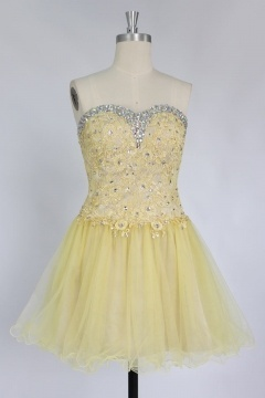 Sexy Strapless Backless Lace Up Tulle Short Homecoming Cocktail Dress