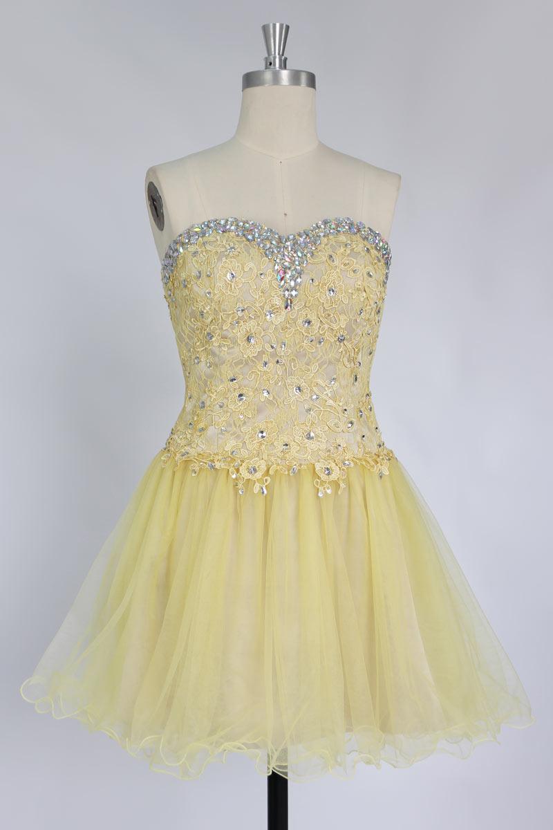 gelbe kurz spitze Perlen Applikation und Rücken Abendkleid