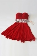 Red Strapless Rhinestone Waistband Mid thigh Short Homecoming dress
