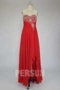 Gorgeous Beading Ruched High Low Strapless Chiffon Cocktail Homecoming Dress