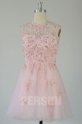 Beautiful Appliques Beading Tulle Short Open Back Sleeveless Cocktail Homecoming Dress