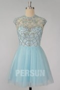 Light blue Short Homecoming dress with Keyhole back & Sheer neckline