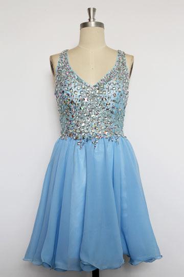 V Ausschnitt A Linie Chiffon Kleid für Ball, Homecoming,Cocktailparty Persun