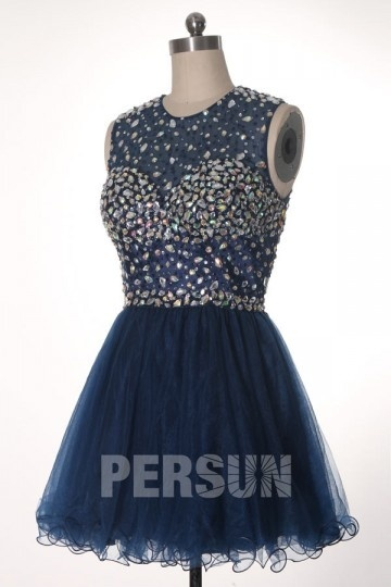 A-Linie U-Ausschnitt Kleid aus tüll für Homecoming,Ball,Cocktailparty Persunshop