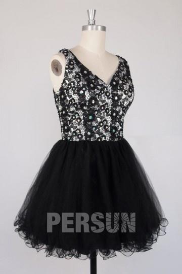 A-Linie V-Ausschnitt Kleid aus tüll für Homecoming und Ball Persunshop