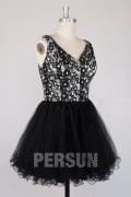 Sexy V Back Lace top Short Homecoming dress with Black tulle skirt