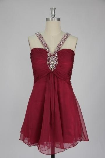 A-Linie Träger Chiffon Kleid für Homecoming,Ball,Cocktailparty Persunshop