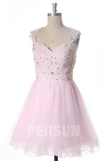 V Ausschnitt Kleid A Linie aus Tüll für Homecoming,Ball,Cocktailparty Persun