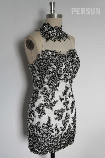 Stehkragen Etui Linie Chiffon Kleid für Homecoming,Ball,Cocktailparty Persun