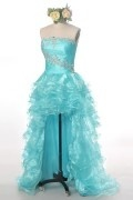 Aqua Green Tiers Beading Strapless High low Prom Dress with Sweep Train