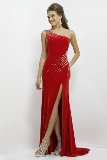 One Shoulder Side Slit Sweep Train Cut Out Long Red Jersey Prom