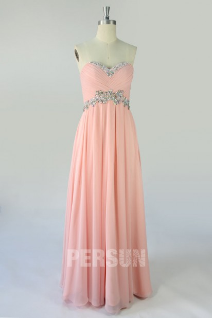 Dressesmall Modern Strapless Backless Beading Empire A line Chiffon Floor Length Formal Evening Dress