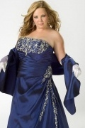Henley on Thames A line Strapless Beaded Satin Plus Size Dress