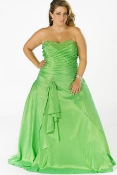 Hendon Sweetheart Pleated Green Floor Length Plus Size Gown