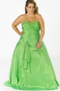 Hendon A line Sweetheart Pleated Taffeta Floor Length Plus Size Gown