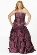Hereford Strapless Sweetheart Pleated Long Taffeta Plus Size Gown