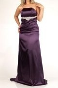 Strapless Beaded Pleated Satin Plus Size Dress
