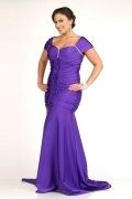 Sweetheart Beaded Wrinkle Purple Mermaid Plus Size Dress