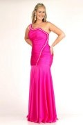 One Shoulder Wrinkle Floor Length Mermaid Plus Size Dress