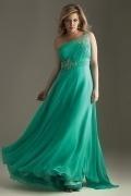 Henley in Arden One Shoulder Beaded Wrinkle Chiffon Plus Size Dress