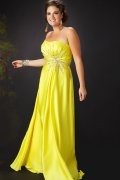 A-line Strapless Beaded Floor Length Satin Plus Size Dress