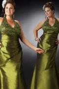 A-line V-neck Beaded Satin Plus Size Dress