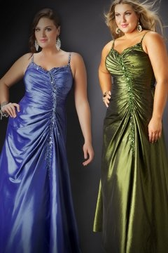 Honiton Ruched Green Floor Length Plus Size Gown