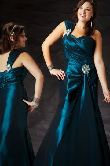 One Shoulder Sweetheart Beaded Taffeta Mermaid Plus Size Dress