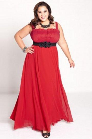 Elegant A-Linie Träger Bodenlang Abendkleid für Mollige in Rot Persun