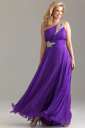 A-line One Shoulder Beaded Purple Chiffon Plus Size Dress