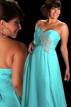 Hove Hucknall Strapless Beaded Blue Plus Size Gown