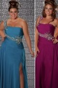 A-line One Shoulder Ruched Beaded Chiffon Plus Size Dress