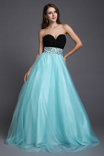 Dressesmall Beaded Strapless Sweetheart Empire Tulle black blue two-tone Formal Bridesmaid evening prom Dress
