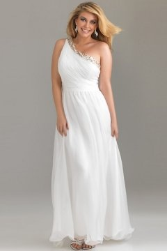 Hungerford One Shoulder Ruched White Plus Size Dress