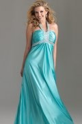 A-line V-neck Halter Beaded Elastic Satin Plus Size Dress
