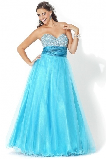 A-line Sweetheart Ruched Tulle Plus Size Dress
