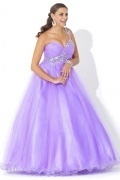 A-line Sweetheart Beaded Ruched Empire Tulle Plus Size Dress