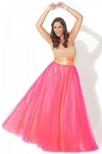 A-line Strapless Ruched Empire Tulle Plus Size Dress