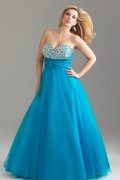 A-line Sweetheart Beaded Tulle Plus Size Dress