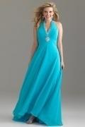 Irthlingborough A line V neck Halter Ruched Chiffon Plus Size Dress