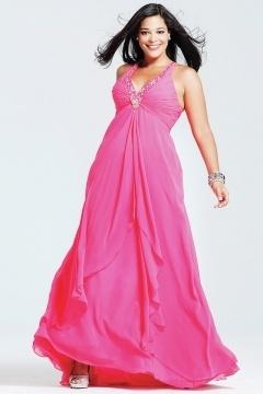 V-neck Ruched Ruffle Chiffon Pink Plus Size Dress