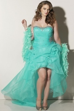 A-line Strapless High Low Bubble Green Plus Size Dress