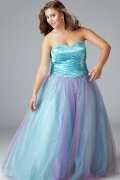 Kidsgrove A line Strapless Sweetheart Beaded Tulle Plus Size Dress