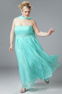 Strapless Pleats Empire Chiffon Plus Size Bridesmaid Dresses