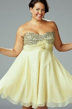 Strapless Sequins Flower Sash Short Yellow Plus Size Prom Gown