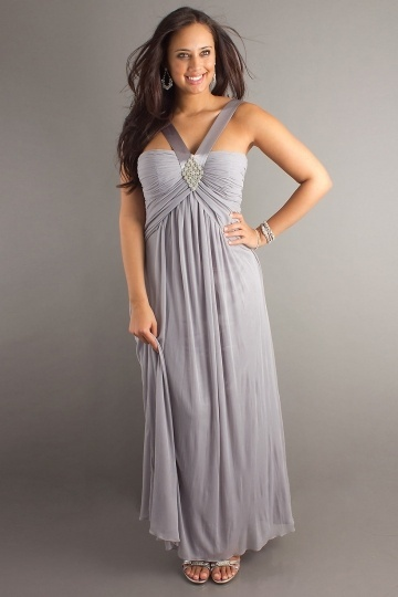 A line V neck Ruched Empire Plus Size Evening Dress
