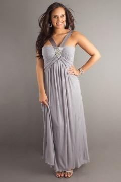 Barton upon Humber V neck Gray Empire Plus Size Dress
