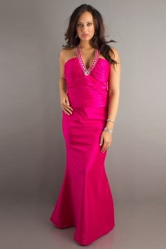 V neck Halter Ruched Floor Length Plus Size Taffeta Prom Dress